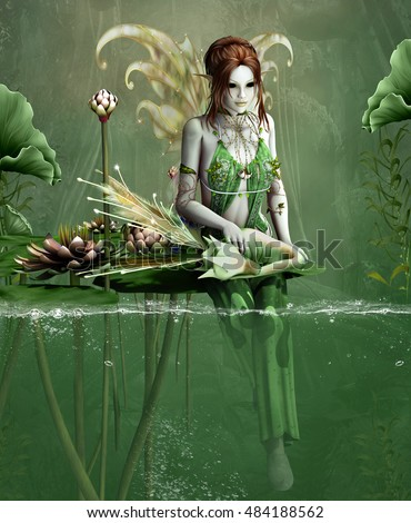 Green fairy with little fantasy dragon and water lilies - 3D illustration