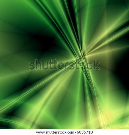 Green fantasy rays on dark background - stock photo