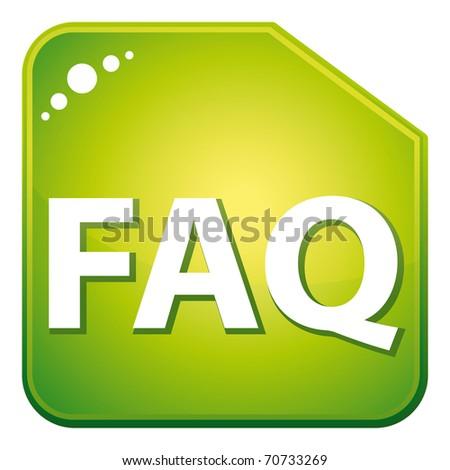 Green faq icon. - stock photo