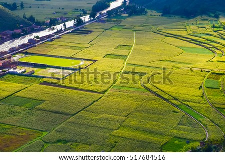 Green farming fields with river and small houses somewhere in Peru with beautiful light and soft focus