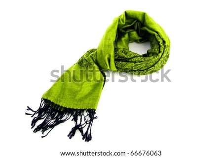Green female scarf isolated on white background - stock photo