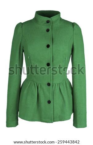 Green female woolen coat - stock photo
