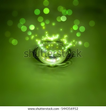 Green festive water splash with twinkles and bokeh for background