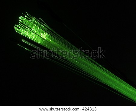 Green fibre optic cables - stock photo