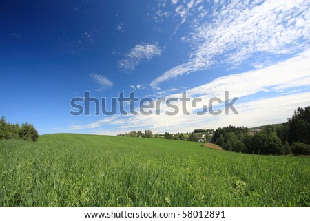 Green field and blue sky outside Oslo in Norway - stock photo