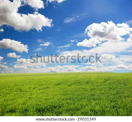 Green field and sky with clouds, photo 4