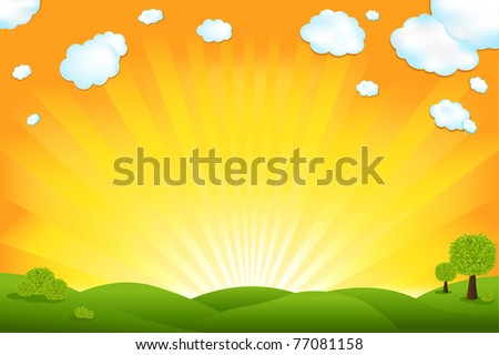 Green Field And Sunrise Sky - stock photo