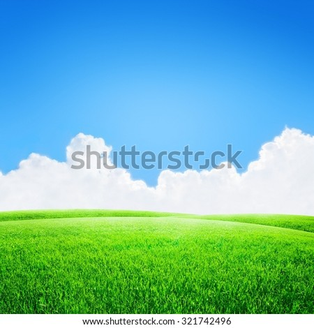 Green field under blue sky with white clouds background - stock photo