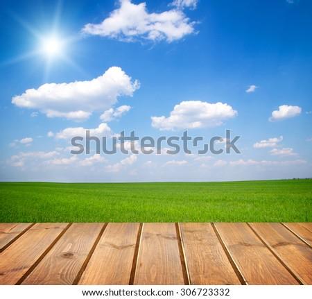 Green field under blue sky. Wood planks floor - stock photo