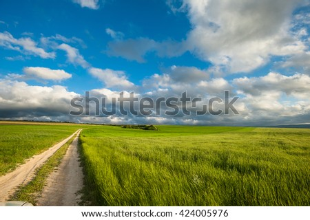 Green field with a road and cloudscape. - stock photo