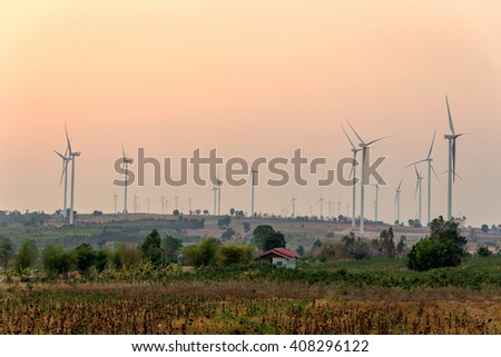 Green Field with Wind turbines generating electricity, Thailand