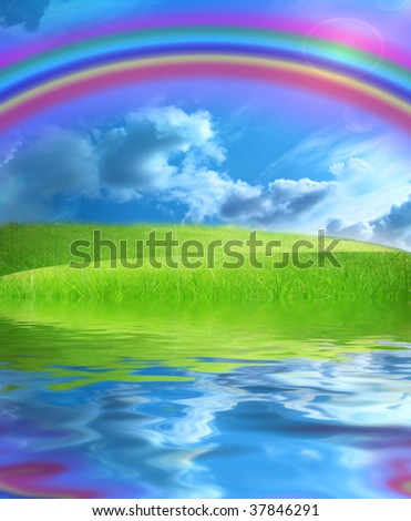 green fields with a blue sky and a rainbow - stock photo