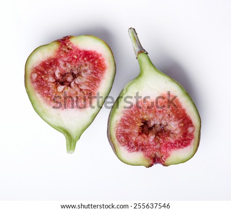 Green fig on a white background - stock photo