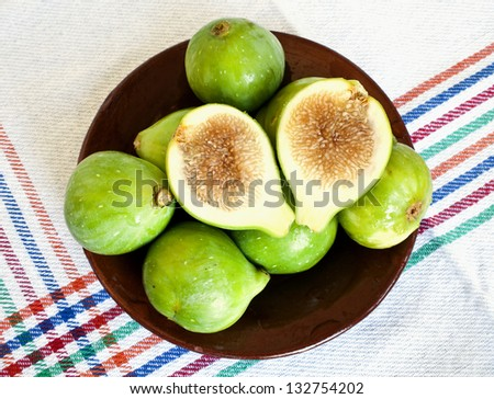 Green figs on ceramic saucer - stock photo