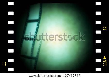 green film strip background, texture - stock photo