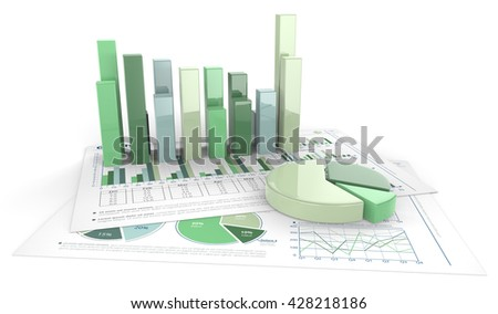 Green financial documents. 3D render of Green financial documents with graphs and pie charts of glass.
