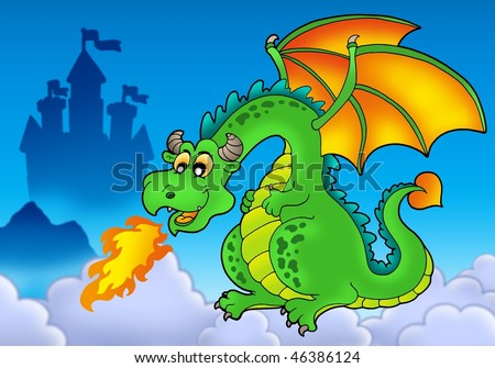 Green fire dragon with castle - color illustration. - stock photo