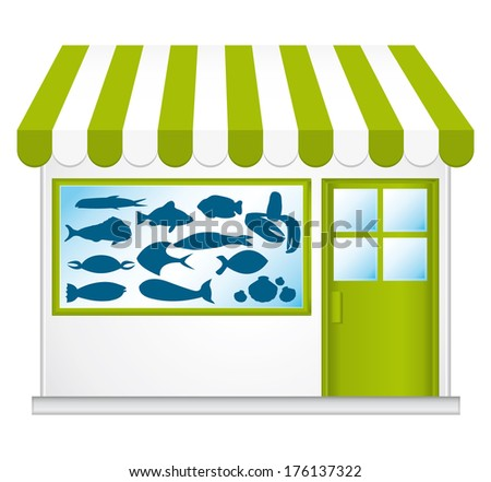 Green fishmonger. Cute little shop.  - stock photo