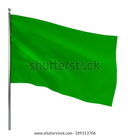 Green flag. 3d illustration isolated on white background  - stock photo