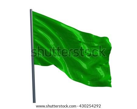 Green flag. 3d render - stock photo