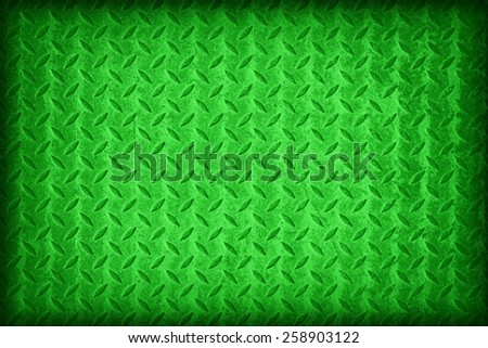 Green flag pattern on diamond metal plate texture ,vintage style - stock photo