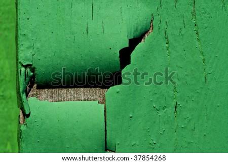 green flakey paint - stock photo