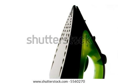 Green flatiron on white background - stock photo