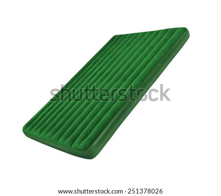 Green floating pool raft isolated on white - stock photo