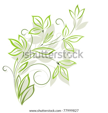 Green floral pattern with shadow - stock photo