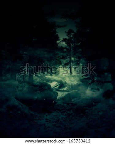 Green foggy twilight forest, mystical landscape background. - stock photo