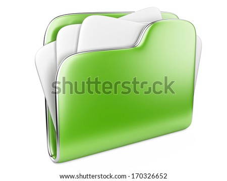 Green Folder icon with paper isolated on white.  - stock photo