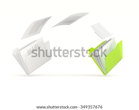 Green folder in a row isolated on white - stock photo
