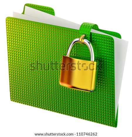 green folder with golden hinged lock stores ecological documents - stock photo