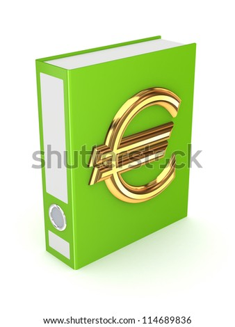 Green folder with golden symbol of euro.Isolated on white background.3d rendered.