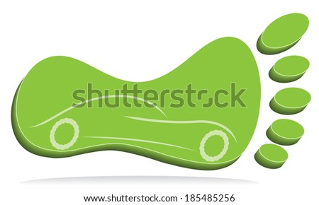 Green foot mark with car. - stock photo