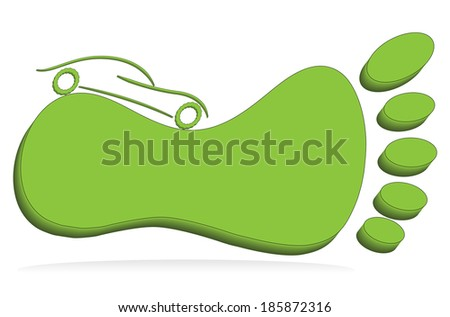 Green foot mark with car, eco car concept illustration. - stock photo