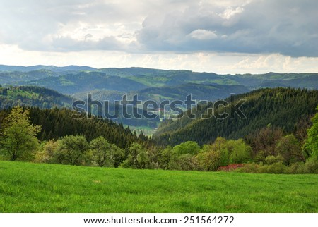 Green forest and valley highland landscape - stock photo