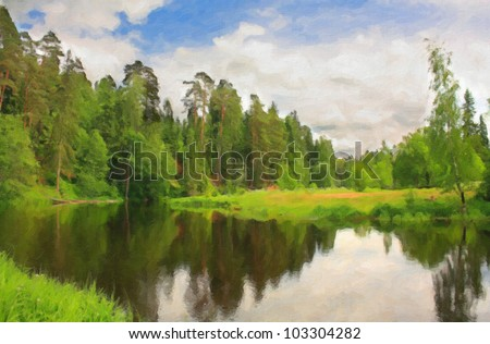 Green forest near river in sunny day. Computing realistic oil painting style. - stock photo