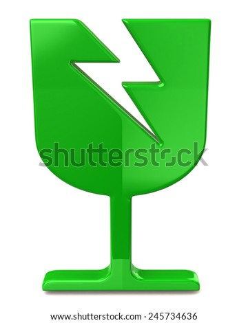 Green fragile icon on white background - stock photo