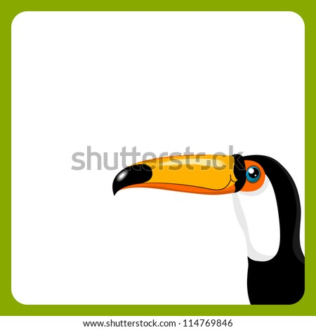 green frame with toucan on white background - bitmap copy