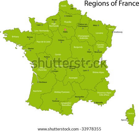 Green France map with regions and main cities - stock photo