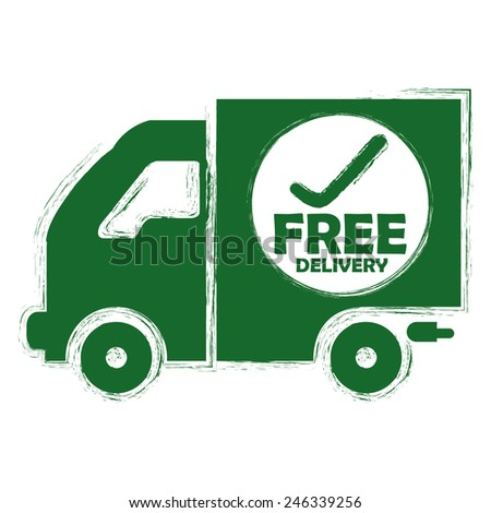 Green Free Delivery Truck Sticker, Icon or Label Isolated on White Background  - stock photo