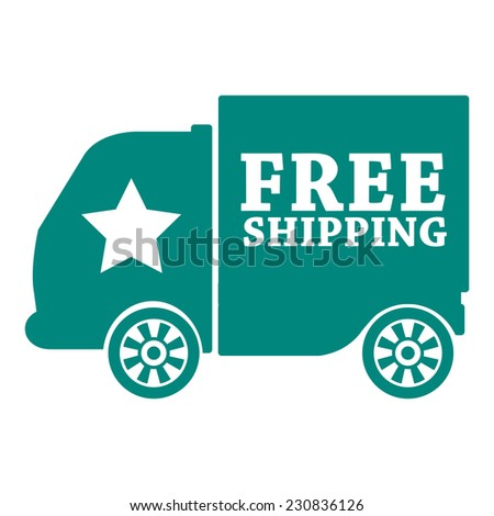 Green free shipping icon, tag, label, badge, sign, sticker isolated on white  - stock photo