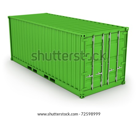 Green freight container isolated on white background - stock photo