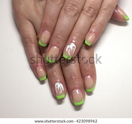 Green French nails with flower