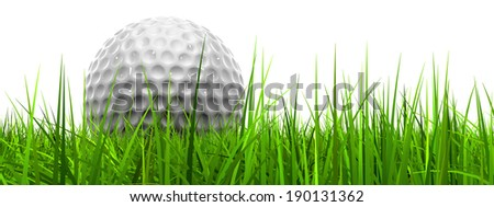 Green, fresh and natural 3d conceptual grass isolated on white background with a golf ball at horizon ideal for club, sport, business, recreation, summer, competition, competition, game or fun design - stock photo