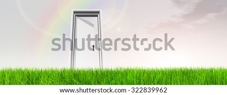 Green, fresh and natural 3d conceptual grass over a blue sky background banner, an opened door at horizon with a rainbow for religion, home, recreation, faith, business, success, opportunity or future
