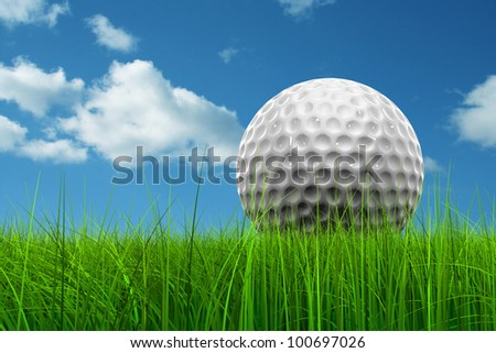 Green, fresh and natural 3d conceptual grass over a blue sky background with a golf ball at horizon ideal for club,sport,business,recreation,competition or fun design - stock photo
