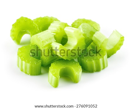 Green fresh celery pieces isolated on white - stock photo