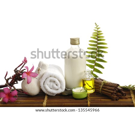 Green fresh fern leaf and branch Frangipani, towel and spa sitting